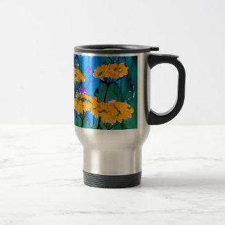 Pintura amarilla del arte de la flor de la taza de viaje
