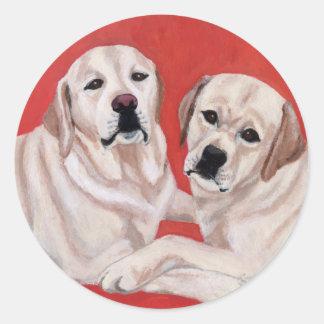 Pintura amarilla del dúo de Labrador Pegatinas