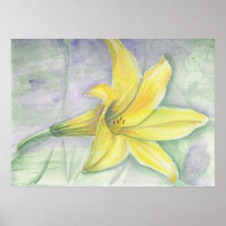 Pintura amarilla del lirio en acrílico posters
