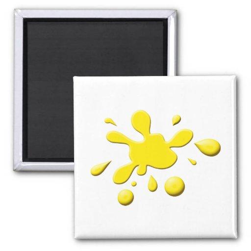 Pintura amarilla Splodge Imán Cuadrado