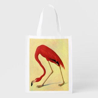 Pintura americana del flamenco de Audubon Bolsas Para La Compra