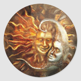 Pintura: Amores lunares solares Pegatina Redonda