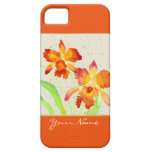 Pintura anaranjada de la acuarela de las orquídeas iPhone 5 Case-Mate fundas