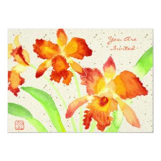 """Pintura anaranjada de la acuarela de las orquídeas invitación 5"""" x 7"""""""