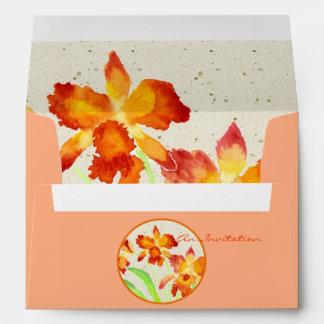 Pintura anaranjada de la acuarela de las orquídeas