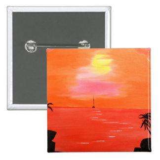 Pintura anaranjada del cielo de la puesta del sol