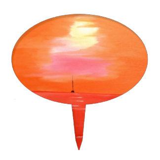 Pintura anaranjada del cielo de la puesta del sol figuras para tartas