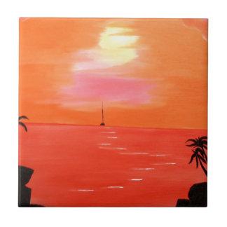 Pintura anaranjada del cielo de la puesta del sol azulejo cuadrado pequeño