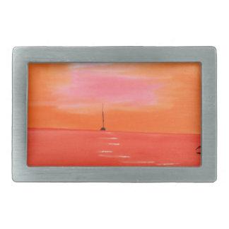 Pintura anaranjada del cielo de la puesta del sol hebilla de cinturon