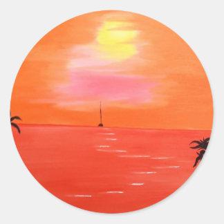 Pintura anaranjada del cielo de la puesta del sol pegatina redonda