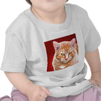 Pintura anaranjada del Tabby Camisetas