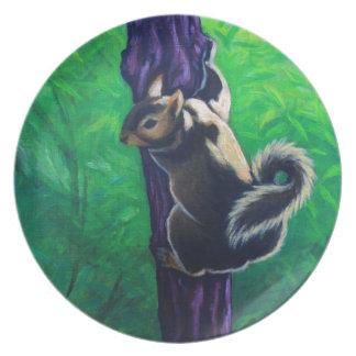 pintura animal de la ardilla gris plato de cena