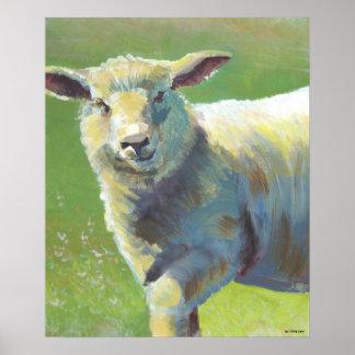 Pintura animal del retrato de una oveja impresiones