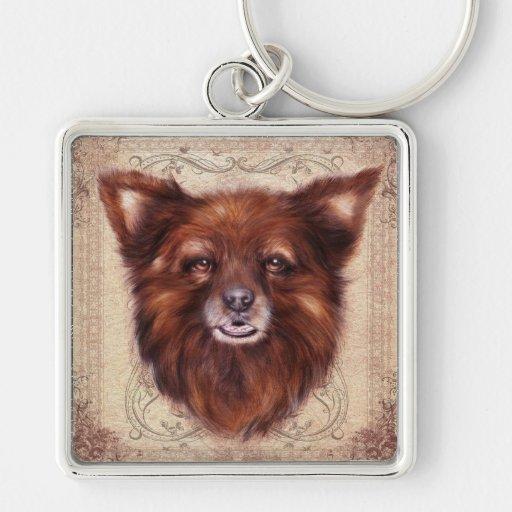 Pintura animal del retrato del perro de Kometka de Llavero Cuadrado Plateado