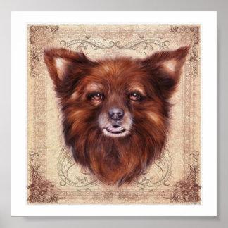 Pintura animal del retrato del perro de Kometka de Poster
