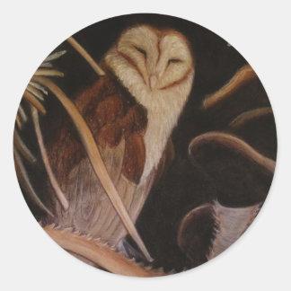 pintura animal en colores pastel de la lechuza pegatina redonda