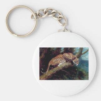 pintura antigua animal del gato salvaje del leopar llavero redondo tipo pin