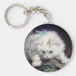 Pintura antigua animal linda del gatito del mascot llaveros personalizados