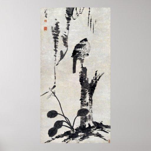 Pintura antigua china, naturaleza, pájaro posters