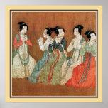 Pintura antigua china, señoras impresiones