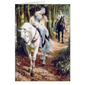 Pintura antigua de la señora medieval del caballer tarjetón
