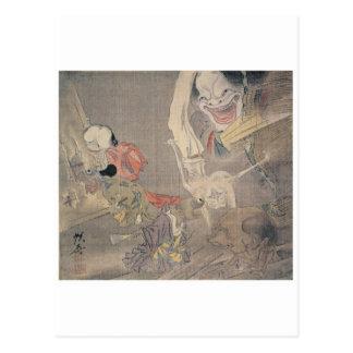 "Pintura antigua de los ""demonios japoneses"" tarjeta postal"