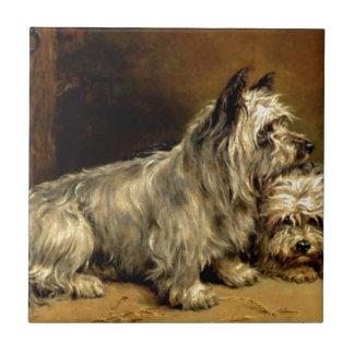 Pintura antigua de los mascotas de los perros de T Azulejo Cuadrado Pequeño