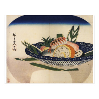 Pintura antigua de un cuenco de sushi circa 1800's postal