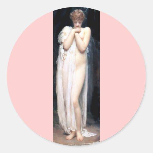 Pintura antigua de Venus Etiqueta Redonda