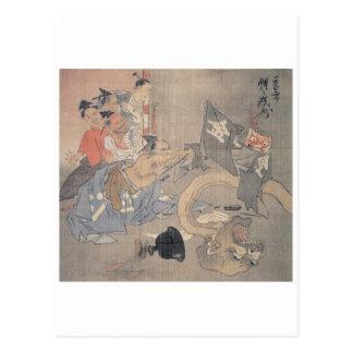 """Pintura antigua del """"demonio japonés"""" tarjetas postales"""