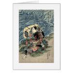 Pintura antigua del samurai circa 1800's felicitaciones