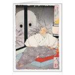 Pintura antigua del samurai tarjetas
