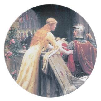 Pintura antigua medieval de la señora y del caball plato