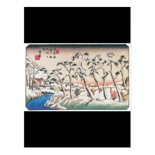Pintura asombrosa de Japón antiguo en la nieve Tarjeta Postal