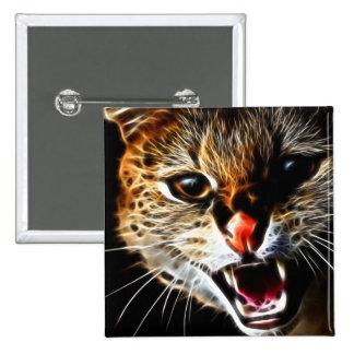 Pintura asustada del gato pin cuadrado