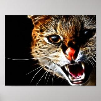 Pintura asustada del gato póster