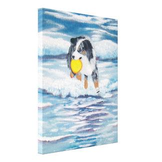 """Pintura australiana de """"Yippee"""" del perro del Impresiones En Lienzo Estiradas"""