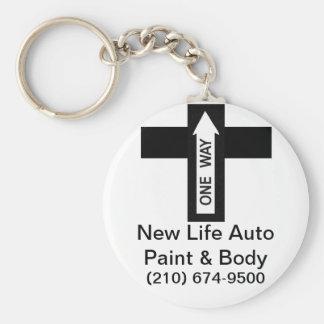 Pintura auto y cuerpo de la nueva vida llavero redondo tipo pin