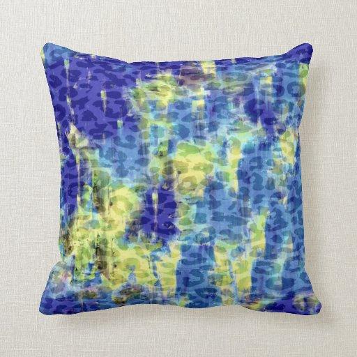 Pintura azul amarilla del extracto del estampado cojín decorativo