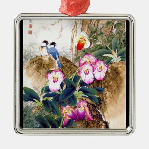 Pintura azul china oriental fresca de la flor del  adorno de navidad