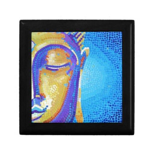 Pintura azul de Buda Joyero Cuadrado Pequeño