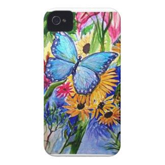 Pintura azul de Butterly - arte iPhone 4 Carcasa