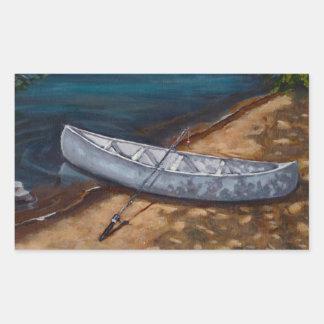 Pintura azul de la canoa: Caña de pescar, río: Rectangular Pegatina