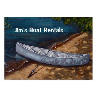 Pintura azul de la canoa, negocio del alquiler del tarjeta personal