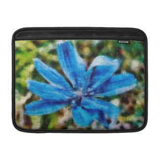 Pintura azul de la flor fundas macbook air