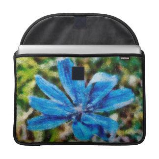 Pintura azul de la flor funda macbook pro