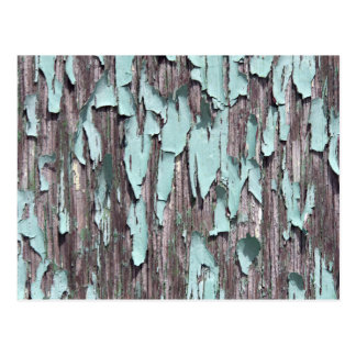 Pintura azul de la peladura en la madera tarjetas postales