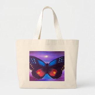 Pintura azul de la puesta del sol de la mariposa - bolsa lienzo