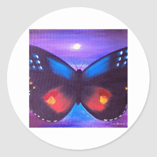 Pintura azul de la puesta del sol de la mariposa - etiqueta redonda