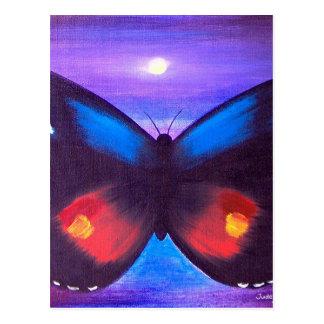 Pintura azul de la puesta del sol de la mariposa - postal